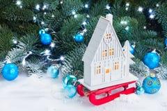 Casa de la Navidad blanca Fotografía de archivo