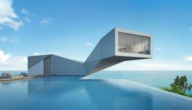 Casa de la opinión del mar con la piscina en diseño moderno, edificio abstracto Imágenes de archivo libres de regalías