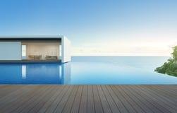 Casa de la opinión del mar con la piscina y la terraza, chalet de lujo del día de fiesta Foto de archivo