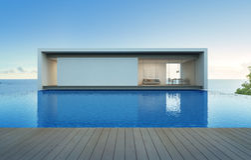 Casa de la opinión del mar con la piscina y la terraza, chalet de lujo del día de fiesta Imagenes de archivo