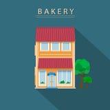 Casa de la panadería Diseño plano con la sombra larga Fotografía de archivo
