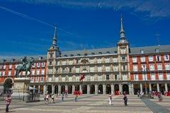 Casa de la Panadería and  King Philip statue on Plaza Mayor, Madrid Stock Photography
