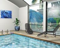 Casa de la piscina stock de ilustración