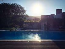 Casa de la piscina Imagenes de archivo
