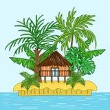 Casa de la casa de planta baja en la isla tropical stock de ilustración