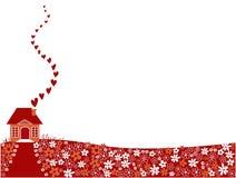 Casa de la tarjeta del día de San Valentín Fotografía de archivo libre de regalías