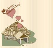 Casa de la tarjeta del día de San Valentín Fotos de archivo libres de regalías