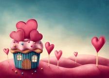 Casa de la torta de la taza de la fantasía Foto de archivo libre de regalías