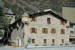 Casa de la Vall in Andorra la Vella, Principality of Andorra. Casa de la Vall is a historical house in Andorra la Vella, Andorra. It is the headquarters of the royalty free stock image