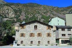 Casa de la Vall facade with a piece of blue sky in Andorra la Vella, Principality of Andorra. Casa de la Vall is a historical house in Andorra la Vella, Andorra stock photo