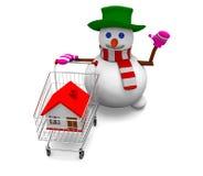 Casa de la venta del muñeco de nieve Fotos de archivo libres de regalías