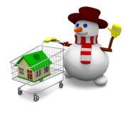 Casa de la venta del muñeco de nieve Fotografía de archivo libre de regalías