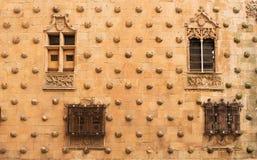 Casa de las Conchas facade. Detail of  the Casa de las Conchas facade, Home of Shells.  Historical building in Salamanca, Spain Royalty Free Stock Photo