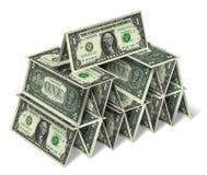 Casa de los billetes de dólar uno imágenes de archivo libres de regalías
