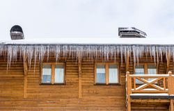 Casa de madeira com congeladores Fotografia de Stock Royalty Free