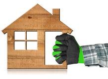 Casa de madeira - conceito da indústria da construção civil Fotografia de Stock