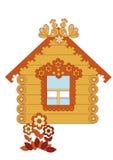 Casa de madeira desenhada em um fundo branco Ilustração do Vetor