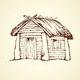 Casa de madeira Desenho do vetor ilustração stock