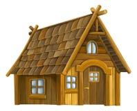 Casa de madeira dos desenhos animados velhos - Fotos de Stock