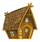 Casa de madeira dos desenhos animados velhos - isolada