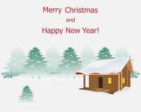 Casa de madeira em um fundo de uma paisagem da floresta do inverno lá ilustração royalty free