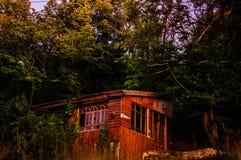 Casa de madeira entre as árvores Fotografia de Stock