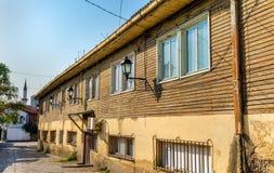 Casa de madeira na cidade velha de Skopje Fotos de Stock Royalty Free