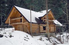 Casa de madeira na floresta do pinho Foto de Stock Royalty Free