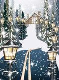 Casa de madeira no fundo nevado do inverno Estrada no meio das ilustrações do vetor da floresta ilustração stock
