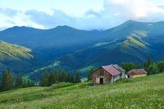 Casa de madeira nos elefantes das montanhas montanhosas com névoa em um dia de verão foto de stock royalty free