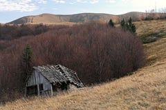 Casa de madeira velha entre o cenário da montanha em torno da floresta fotografia de stock