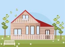Casa de madera con el jardín Estilo plano de la fachada del vector Imágenes de archivo libres de regalías