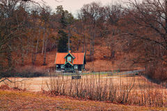 Casa de madera con un tejado tejado anaranjado en un bosque de oro del otoño Foto de archivo libre de regalías