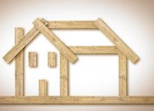 Casa de madera: construya su hogar cómodo con los materiales naturales - imagen del concepto con el espacio de la copia fotografía de archivo