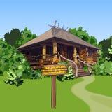 Casa de madera de la historieta en el bosque con una muestra ilustración del vector
