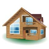 Casa de madera detallada del vector en el fondo blanco Fotografía de archivo