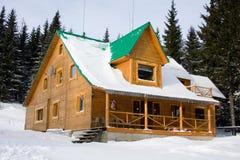 casa de madera Dos-storeyed encubierta por la nieve Foto de archivo