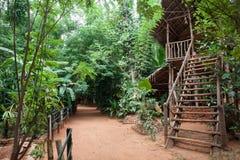 Casa de madera en el bosque fotos de archivo