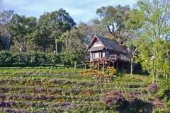 Casa de madera en la colina Foto de archivo libre de regalías