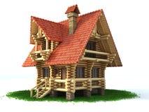 Casa de madera en la ilustración de la hierba 3d Imagen de archivo
