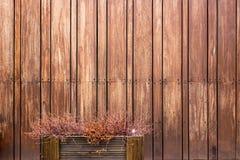 Casa de madera de la pared del color del marrón oscuro exterior con el pequeño jardín de flores Fotos de archivo
