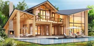 Casa de madera de lujo con la piscina libre illustration