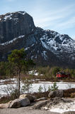 Casa de madera noruega roja en el bosque del invierno cerca del mou Fotos de archivo libres de regalías