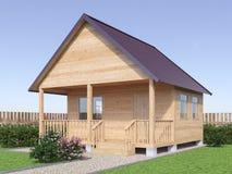 Casa de madera o sauna del pueblo en el exterior del jardín 3d rinden Fotografía de archivo