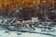 Casa de madera quemada Fotografía de archivo libre de regalías
