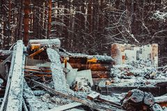 Casa de madera quemada Foto de archivo