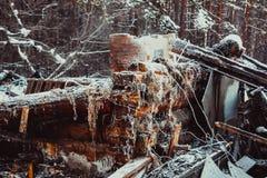 Casa de madera quemada Fotos de archivo