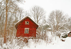 Casa de madera roja muy vieja en un bosque nevoso Fotografía de archivo libre de regalías