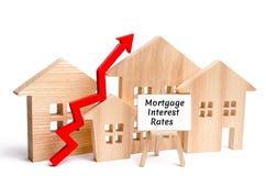 Casa de madera y las tarifas y para arriba la flecha del interés hipotecario de la inscripción Aumentar tipos de préstamo hipotec imagen de archivo libre de regalías