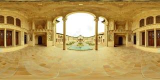 Casa de mansão barroco do palácio dos oásis de Kashan e pátio, Irã Fotos de Stock